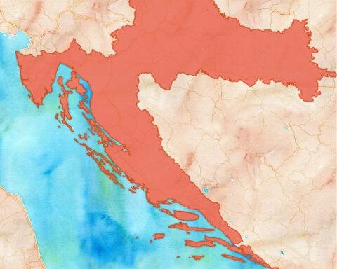 Zemljopisna Karta, Hrvatska označena črljeno